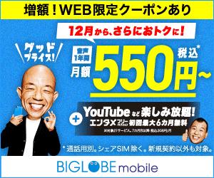 【BIGLOBEモバイル】特典総額 最大16,400円(~2018年9月30日)