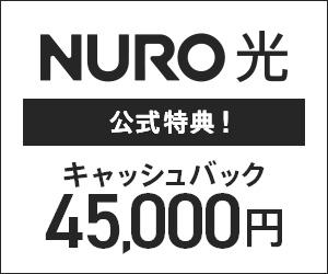 【4万5000円キャッシュバック】NURO光